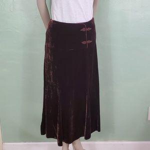 Garnet Hill Silk Blend Velvet Maxi Skirt